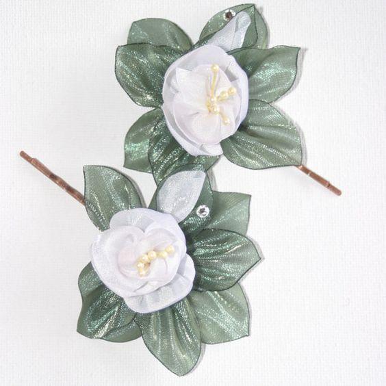 Floral Hair Pins Wedding Accessories White by nadezdaflowers