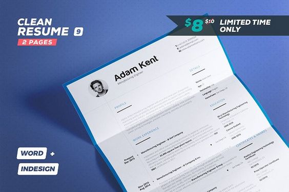 Clean Resume\/Cv Volume 9 - 2 Pages by #TheResumeCreator on - resume 2 pages