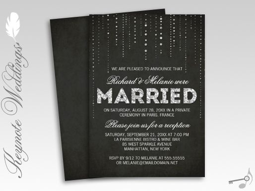 Wedding Dance Only Invitation Wording: Sparkly Glitter Chalkboard Wedding Reception Only