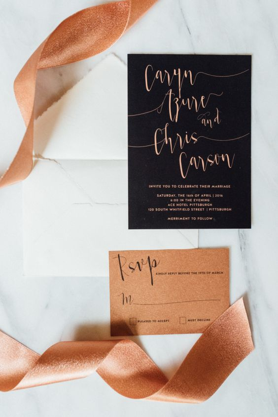 Copper and black invitations: http://www.stylemepretty.com/little-black-book-blog/2016/04/25/april-showers-bring-may-flowers-for-this-springtime-styled-shoot/ | Photography: Eva Lin Photography - http://www.evalinphotography.com/