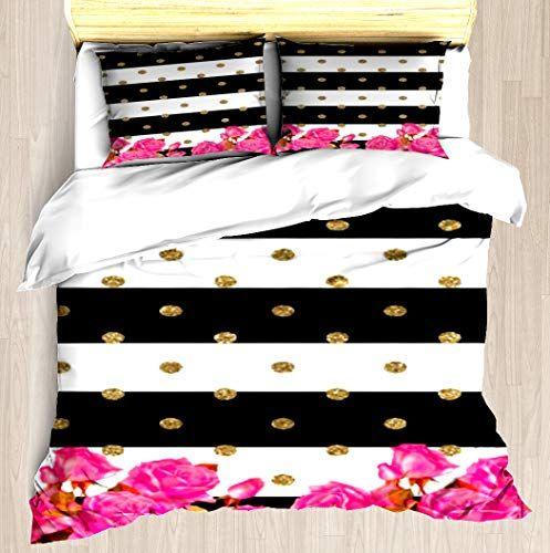 Rambed Elegant Black White Stripes Gold Pink Roses Duvet Cover Set