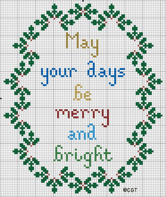 Free merry and bright christmas cross stitch pattern for Cross stitch patterns free printable