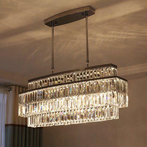 Moooni Modern Oval Rectangular Crystal Chandelier Ceiling Light Rod Type Pendant Lights For Living Ceiling Lights Chandelier Ceiling Lights Crystal Chandelier