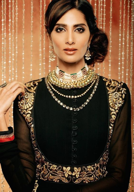 black+and+gold+fashion | Black and Gold Jacket Style Anarkali