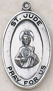 """SAINT JUDE MEDAL, Price includes shipping to all fifty states. Solid sterling silver medal, approx. 1"""" in height. Gift boxed with a complimentary 20"""" stainless steel chain. Carries the Creed lifetime guarantee."""