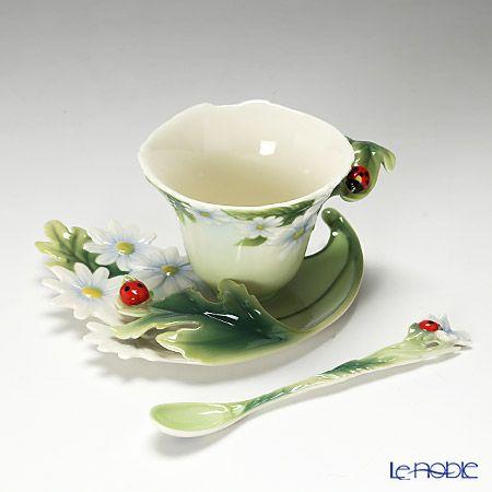 Franz Collection Ladybug design sculptured porcelain cup, saucer, and spoon set FZ00034
