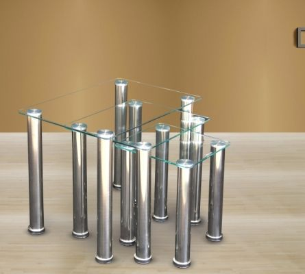 Crystal Nest of Tables with Clear Glass