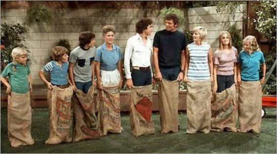 """The Brady Bunch"" -- ABC-TV Series -- Backyard potato sack race:"