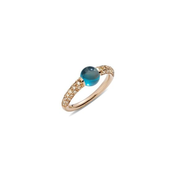 ROSE GOLD RING WITH ROUND CABOCHON BLUE LONDON TOPAZ AND BROWN DIAMONDS (0.36 CT)