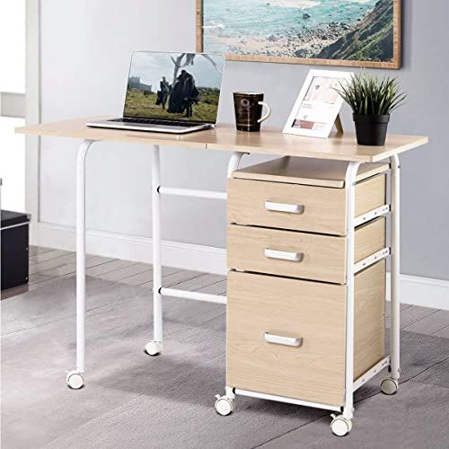 Best Seller Patiojoy Folding Computer Desk Wheeled Home Office Furniture 3 Drawers Laptop Desk Writing Table Portable Dome Apartment Space Saving Compact Desk In 2020 Desks For Small Spaces Home