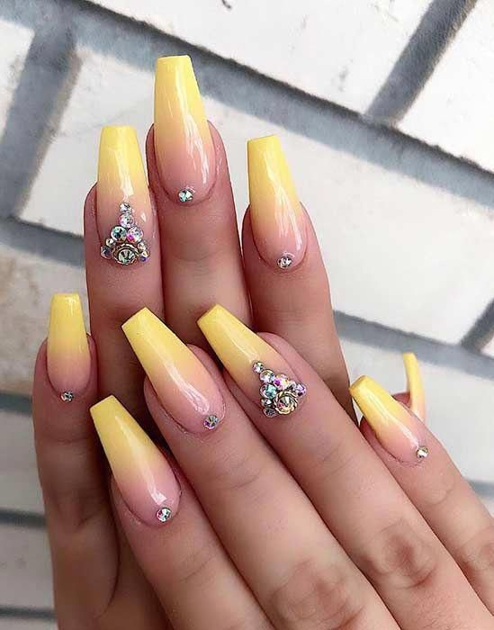 Yellow Ombre Coffin Nails Ombrenails In 2020 Summer Acrylic