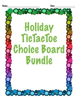 Holiday TicTacToe Choice Board