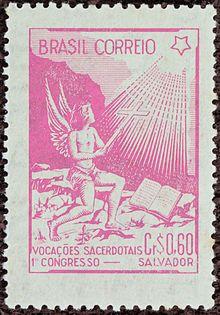Selos do Brasil - 1940-1959 – Wikipédia, a enciclopédia livreSelo Comemorativo do Primeiro Congresso de Vocações Sacerdotais - Salvador - Rosa - 1949
