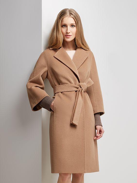 Пальто женское демисезонное цвет кэмел, Пальтовая ткань, артикул 3014355p10407