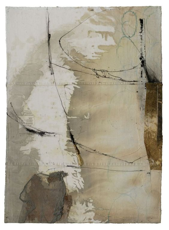 "Fran Stiles - ""Mountain Ridge"",  40"" x 30"", Rigid, yet flexible layered constructions of paper, cloth, paint, gesso, paint, ink and pencil held together with stitching, embroidery, and medium."