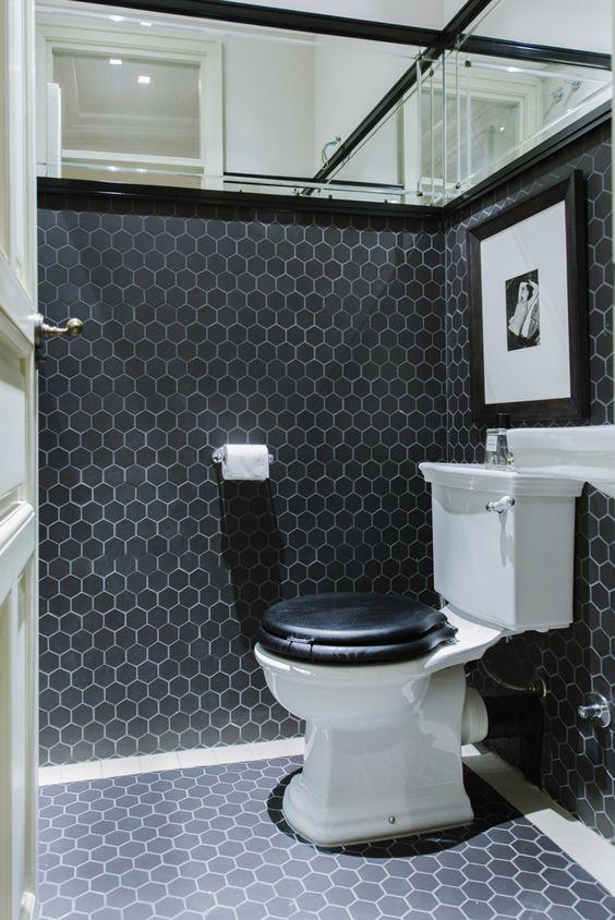 Ideas de #Baño, estilo #Clasico color  #Blanco,  #Negro, diseñado por Nimú, equipo de diseño  #CajonDeIdeas
