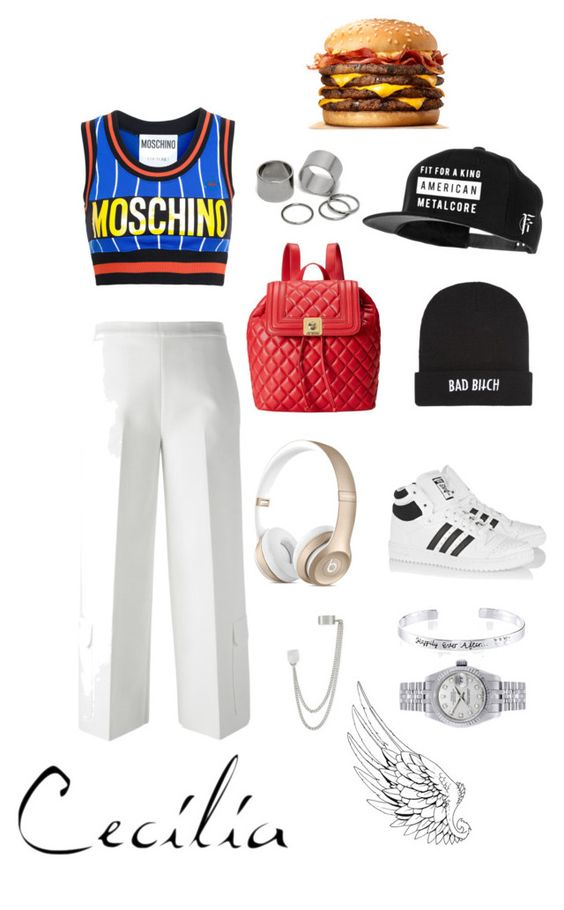 """⚽️"" by dadoo416 ❤ liked on Polyvore featuring Moschino, MSGM, adidas Originals, Love Moschino, Kill Brand, Pieces, Disney, Rolex and French Connection"