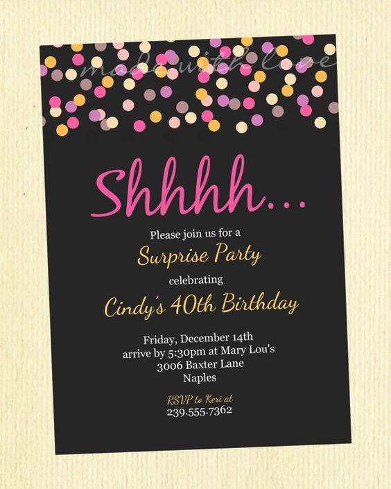 Fiestas sorpresa invitaciones de la fiesta sorpresa and - Fiesta sorpresa de cumpleanos para nina ...