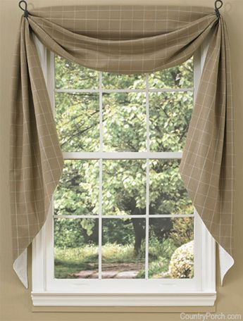 The Country Porch features Cobblestone Fishtail Curtain Swags from Park Designs.