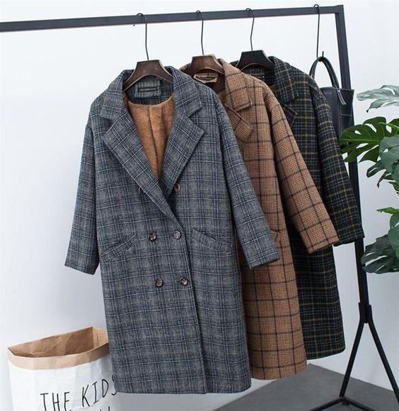 Women's Jacket Velvet Thick Woolen Korean Long Loose Large Size Plaid for Winter