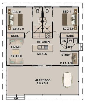 89 8 M2 Or 966 Sq Foot 2 Bedrooms 2 Bathroom Granny Flat Etsy In 2021 Tiny House Floor Plans Tiny House Plans Small House Floor Plans