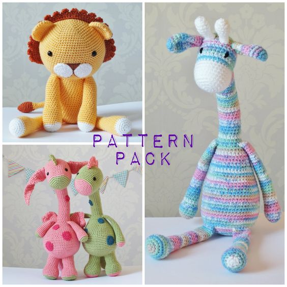 Crochet Amigurumi PATTERN PACK PDF Downloads Limited Amount Special Offer Giraffe Lion Dragon Dino by KornflakeStew on Etsy