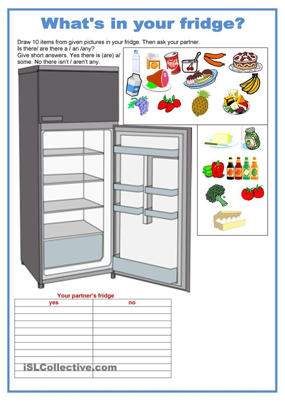 Pair work - food - Whats in your fridge: