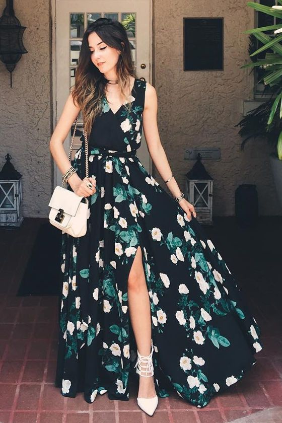 Whether you're walking in Memphis, or strolling through the French Quarter, let it be in the Magnolia Blooms Black Floral Print Maxi Dress! Black woven poly has a charming ivory, green, and golden yellow floral print over a sleeveless, surplice bodice with modesty snap. Elastic waist (with tying sash belt) tops the maxi skirt with front and side slits. As Seen On Flavia of Fashion Coolture blog!: