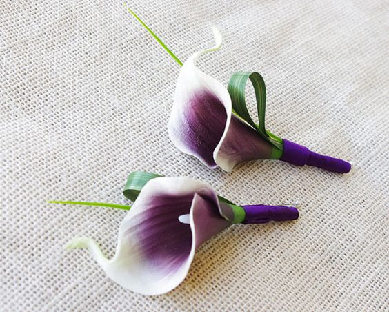 Purple Heart Picasso Silk Calla Lily Wedding by Wedideas on Etsy