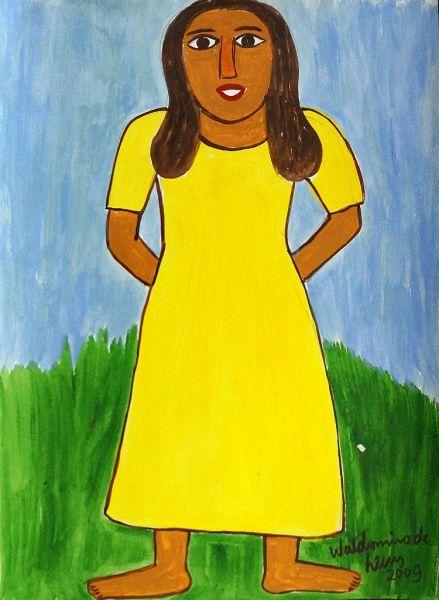 Waldomiro de Deus. Mulher (2009). Acrílica Sobre Cartão. 45x33 cm.