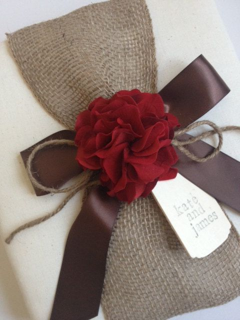 Custom Rustic Wedding Album - Red Hydrangeas, Chocolate Brown Ribbon and Rope Bow, Hand-stamped wood tag with bride and groom's names - by CoutureLife