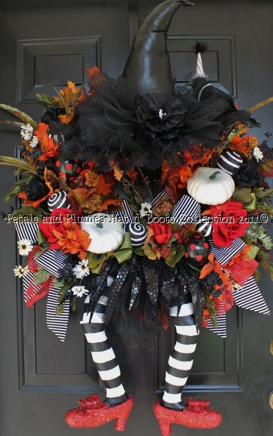 Halloween Wicked Witch w/ Ruby Red Slippers Wreath Hat Boots