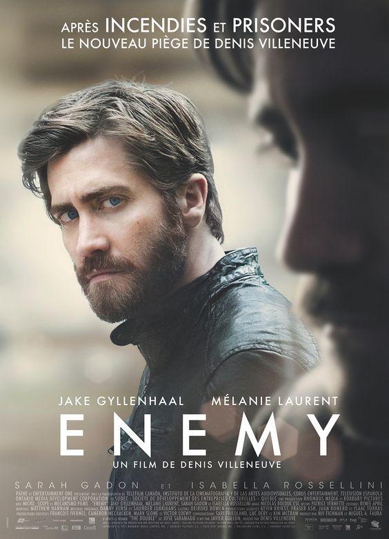 Enemy est un film de Denis Villeneuve avec Jake Gyllenhaal, Mélanie Laurent. Synopsis : Adam, un professeur discret, mène une vie paisible avec sa fiancée Mary. Un jour qu'il découvre son sosie parfait en la personne d'Anthony