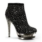 """Suede 6"""" High Heel Ankle Boot w/ Large & Small Rhinestones Embellished on Upper, Inlay & Heel, Side Zip and a 1.5"""" Dual Platform"""