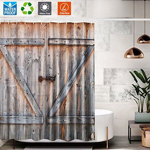 Bathroom Shower Curtain Unique Barn Door Shower Curtain For