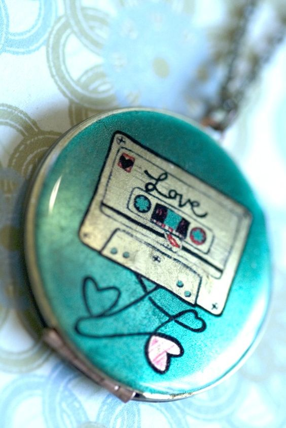 locket pendant mixed tape necklace