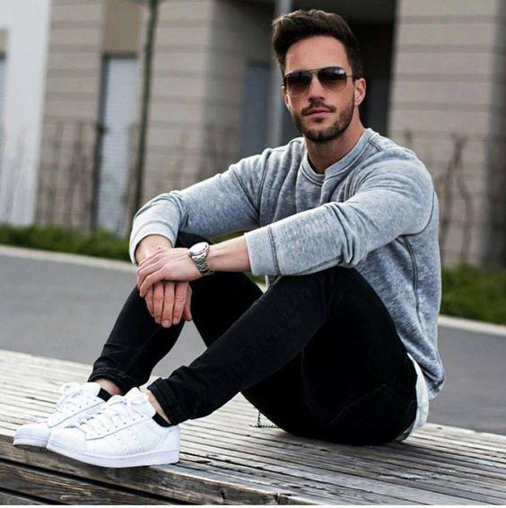 Looks Con Tenis Para Hombre En 2019 Outfit Tenis Blanco