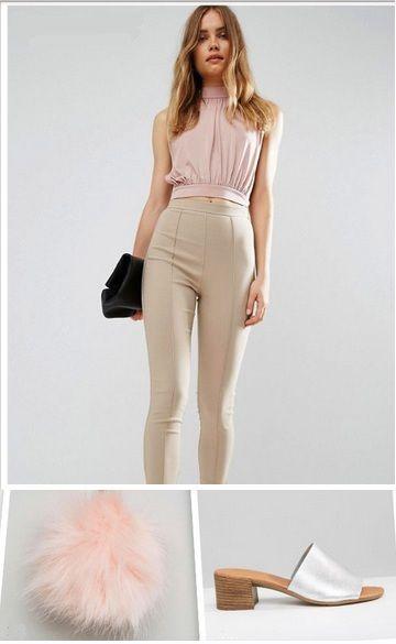 Blush top+beige pants+silper slide sandals+black clutch+blush pom pom. Late Summer outfit 2016