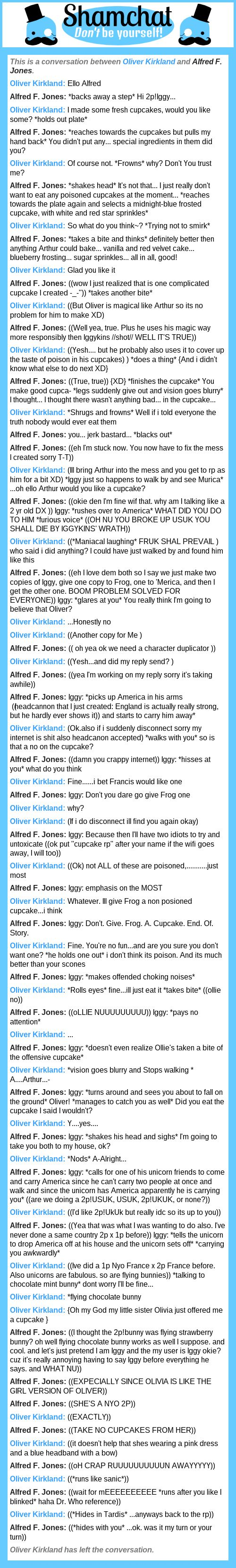 A conversation between Alfred F. Jones and Oliver Kirkland