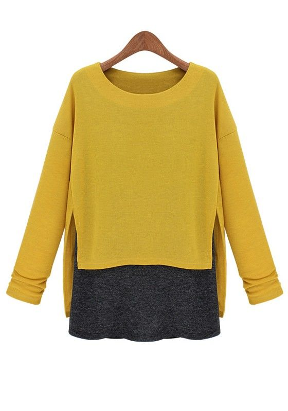 Yellow Patchwork Asymmetric Shoulder Long Sleeve Cotton T