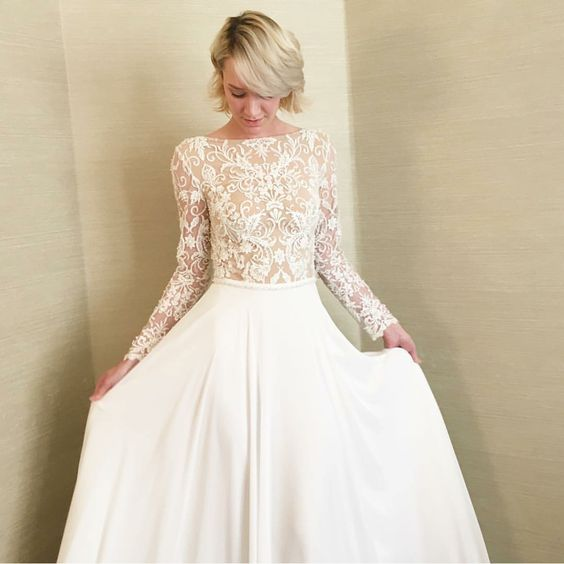 Modest Wedding Dress With Long Sleeves And A Flowing Skirt From Alta Moda Modest Bridal