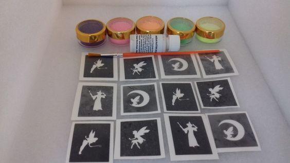Fairy themed mini small glitter tattoo set incl. stencils + glitter Tinkerbell…