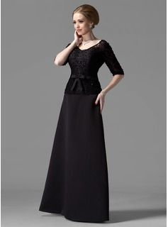 A-Line/Princess V-neck Floor-Length Satin Lace Mother of the Bride Dress With Beading Bow(s) (008002216) - JJsHouse
