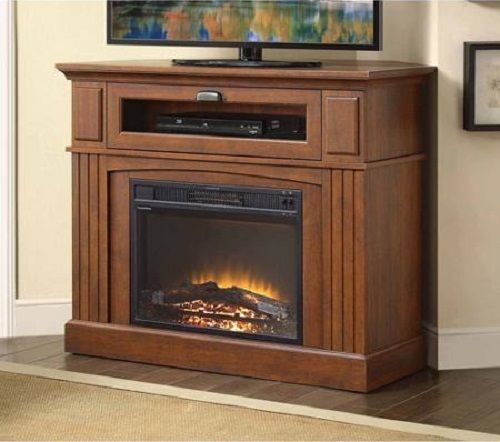 Fireplace TV Stand Corner Electric Heater Media Console Wood Cabinet Insert  #ElectricFireplaceCornerTVStandHeaterUSA