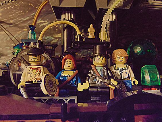 Some of the crew of the Aethership Vagabond, in Lego form.