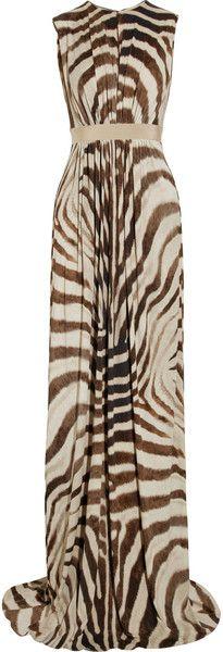 GIAMBATTISTA VALLI  Africa Queen    Zebraprint Stretch Crepejersey Gown   dressmesweetiedarling