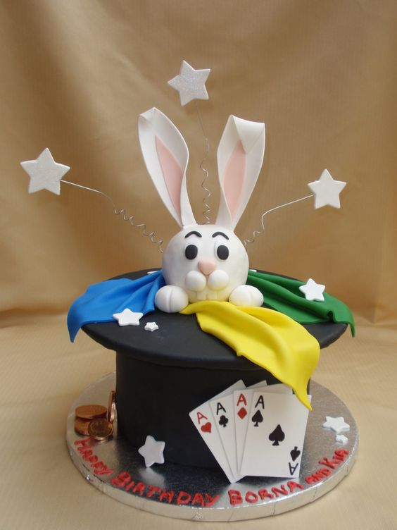 "Magic theme for twins birthday party.  8"" rounds covered in fondant.  Rabbit is rice crispies covered in fondant.  Cards, stars and ears are gumpaste.  Inspired by Rexy, julzcakesandmore and mamacc. Thank you!"