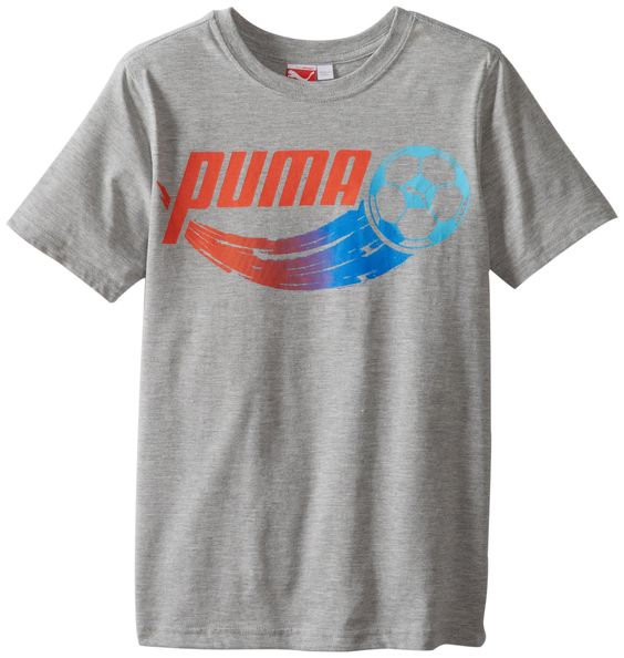 PUMA Big Boys' Soccer Grade T-Shirt, Heather Gray, X-Large