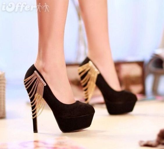 shoes gold chain black high heels: Shop for shoes gold chain black ...