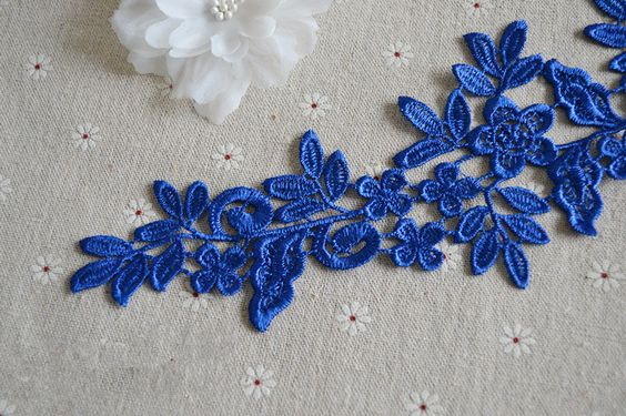 Sapphire  Hollow out Lace Applique, Guipure Lace Applique, Wedding Accessory, Costumes Accessory DIY,  Lace Applique Embroidery, 1 Pair by LaceNTrim on Etsy